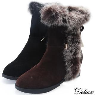 【Deluxe】摩登貴族.可愛俐落毛毛中筒靴(黑★咖啡)