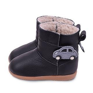 【英國 shooshoos】健康無毒真皮手工學步鞋/童鞋_黑色小汽車冬靴(適合走路平順、跑跳小童)