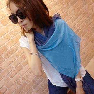 【Lus.G】渲染漸層色麻紗圍巾(藍/藍黑/藍灰/橙)