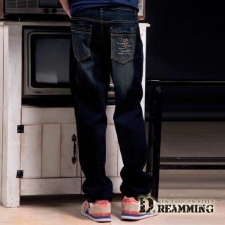【Dreamming】騎士刺繡刷色伸縮中直筒牛仔褲(黑色)