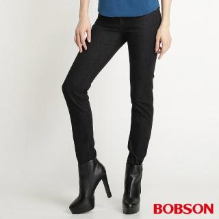 【BOBSON】女款星星刺繡保暖紗小直筒褲(黑灰8063-87)