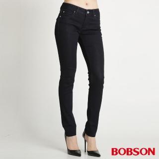 【BOBSON】款仿皮口袋保暖紗小直筒褲(深藍8065-52)