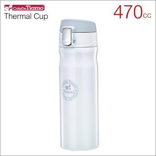 【Tiamo】冰熱兩用彈蓋隨手杯-白色 470cc 保溫杯(HE5155W)