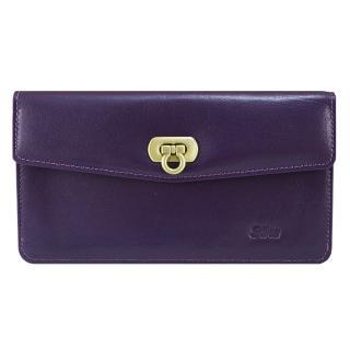 【Sika】義大利時尚真皮素面扣式長夾(A8279-07木槿紫)
