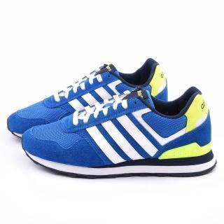 【Adidas】男款 10K輕量慢跑鞋(F98293-藍白)