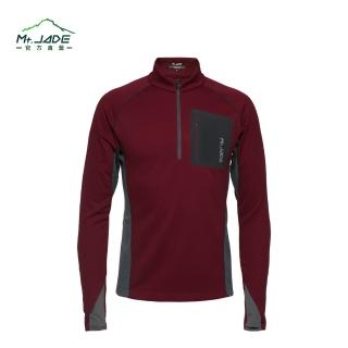【Mt. JADE】男款i-Cosey Pluto吸排半開襟上衣(紅色/低調灰)
