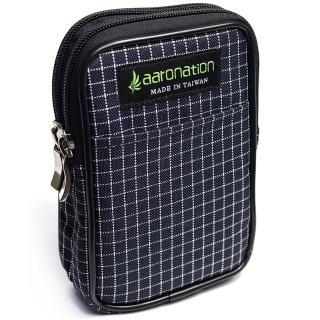 【aaronation 愛倫國度】雙層拉鍊隨身包台灣製造(AN-2547S-藍白)
