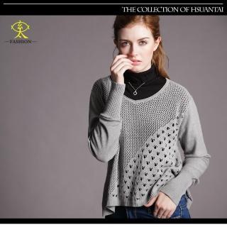 【玄太】簡約風摟空織紋短版針織衫(灰)