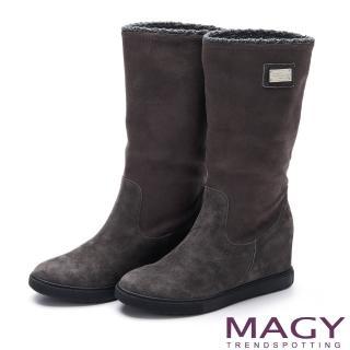 【MAGY】暖冬時尚 中性甜美內增高毛毛滾邊平底靴(灰色)