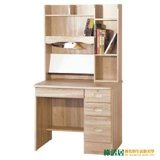 【綠活居】凱薩妮3尺橡木色四抽書桌