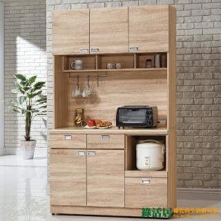 【綠活居】艾德諾3.9尺橡木色五門三抽石面餐櫃組合(上+下座)