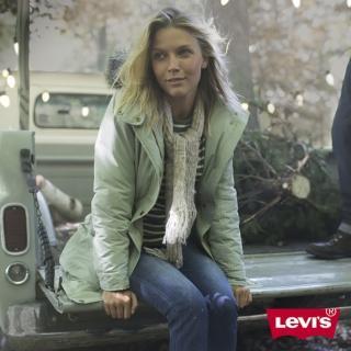 【Levis】女款加厚連帽中長版羽絨外套