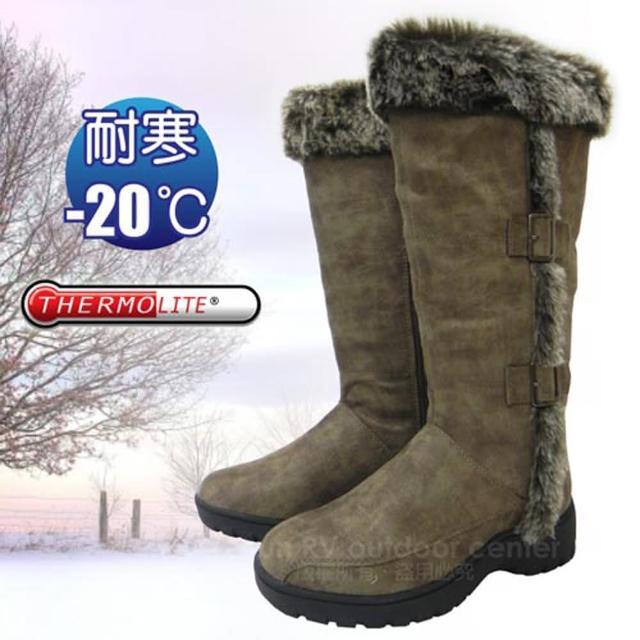 【好物推薦】MOMO購物網【極地時尚】女新款 高筒毛絨側扣專業保暖雪鞋、雪靴_附冰爪/內層保暖刷毛雪靴(可可 SN164)評價如何momo台購物