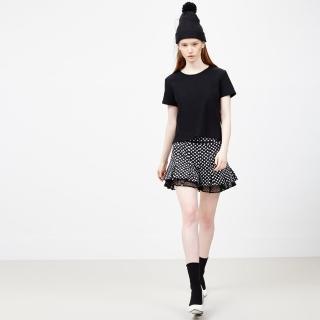 【ICHE 衣哲】波卡圓點拼接蕾絲打摺褲裙