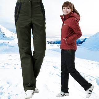 【遊遍天下】女款顯瘦直筒防風防潑水禦寒刷毛長褲/ 防風雪褲 P105黑(S-3L)
