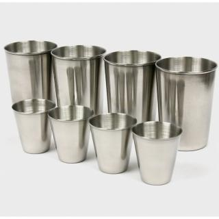 【迪伯特DIBOTE】攜帶式不鏽鋼杯 環保杯 8入組(小杯+大杯)