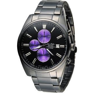 【雅柏 ALBA】簡約時尚計時腕錶(VD57-X059SD AM3247X1 黑x紫)