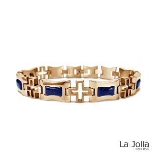 【La Jolla】知性時代 純鈦鍺手鍊(藍砂石-3G-金色)