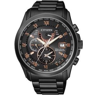 【CITIZEN 星辰】浩瀚世界五局電波光動能腕錶-鍍黑(AT9085-53E)