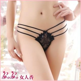 【BoBo女人香】蕾絲透視含苞蝴蝶結迷人低腰內褲丁字褲-N2112-4(迷惑黑)