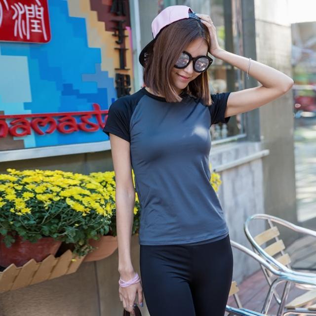 【私心大推】MOMO購物網【狐狸姬】法式短袖路跑運動衣(黑灰整套)開箱momo拍賣