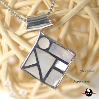 【HEMAKING】純銀天然貝殼菱形項鍊(貝殼.純銀)