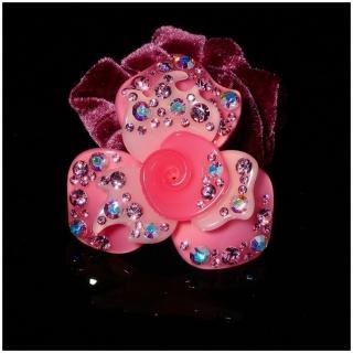 【NDM南大門】韓系奢華水鑽髮束水晶髮飾絨布髮束 大號(玫瑰粉906071)