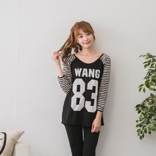 【Jimmy&Wang】大圓領黑色83上衣(網)