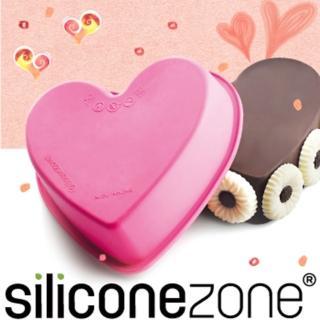 【Siliconezone】施理康耐熱愛心造型小蛋糕模(粉色)