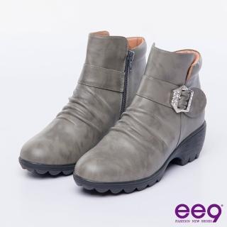 【ee9】MIT經典手工-簡約優雅俐落自然抓皺晶鑽飾扣繫帶百搭短靴-灰色(短靴)