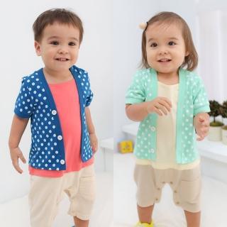 【baby童衣】嬰兒連身衣 假三件亮彩短袖爬服60145(共2色)