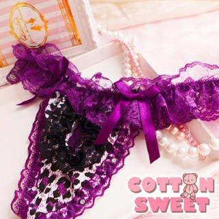 【棉花甜】鍾情開洞 豹紋蕾絲棉質 丁字褲(紫 B-323)