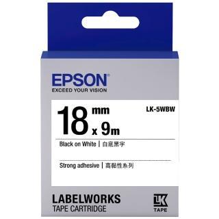 【EPSON】標籤機色帶 白底黑字/18mm(LK-5WBW)