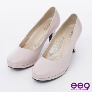 【ee9】心滿益足-通勤私藏全真軟皮MIT素面防水台高跟鞋*粉色(高跟鞋)
