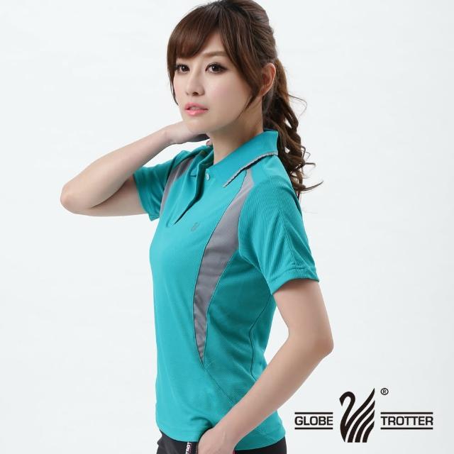 【遊遍天下】MIT台灣製女款腰瘦抗UV吸濕排汗機能POLO衫Smomo購物頻道141水綠(M-3L)