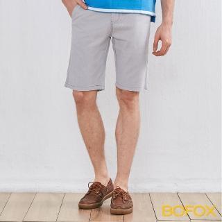 【BOFOX 寶狐】抓皺刷色休閒短褲(卡其)