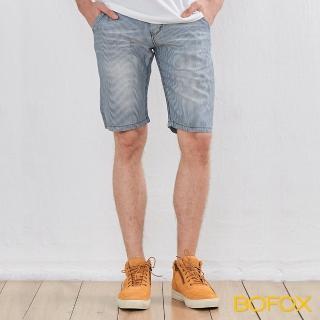 【BOFOX 寶狐】仿牛仔刷色休閒短褲(藍)