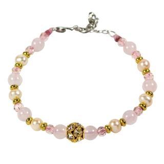 【A1寶石】時尚潮流款-晶鑽-珍珠-粉水晶三效合一手鍊-旺桃花首選(含開光加持)