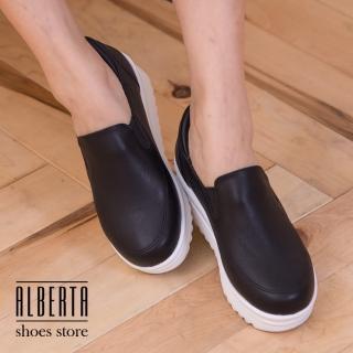 【Alberta】皮革質感素面基本款懶人鞋 厚底鬆糕鞋 4.5CM增高修飾 乳膠鞋墊柔軟(黑色)