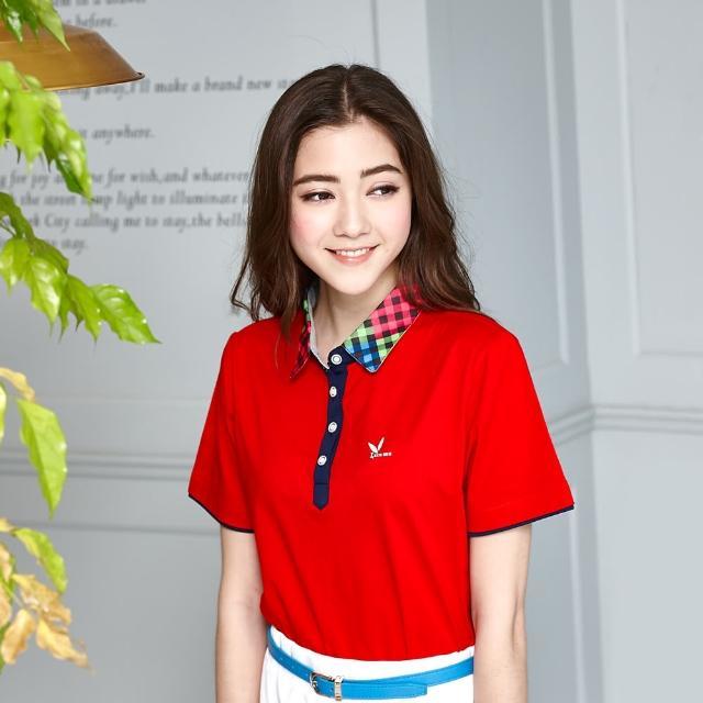【LEIDOOE】立領格紋拼接女版短袖POLO衫(紅色1m0m0購物6663)