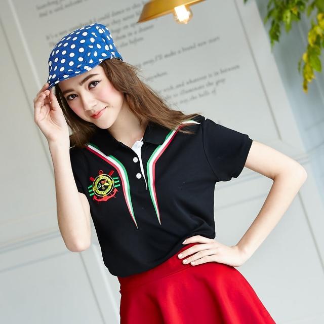 【LEIDOOE】黑底搭三色線條女momo tv購物台款短袖POLO衫(16636)