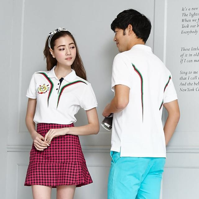 【LEIDOOE】白底搭三色線條女款短袖POLO衫(momo客服中心16635)
