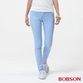【BOBSON】女款低腰膠原蛋白彩色小直筒褲(天空藍8125-51)