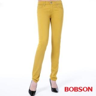 【BOBSON】女款低腰膠原蛋白拉毛小直筒褲(藍8139-50)