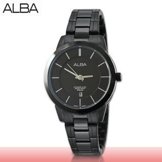 【SEIKO 精工 ALBA 系列】歐美系經典時尚錶款_全黑不鏽鋼_女錶(AH7E01X1)