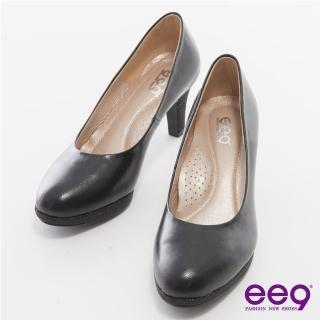 【ee9】心滿益足-全真軟羊皮MIT素面防水台高跟鞋*黑色(跟鞋)