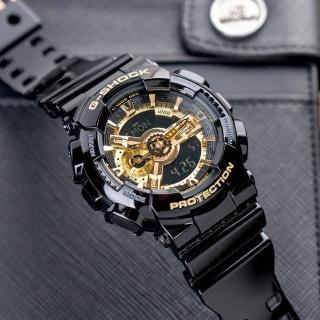 【CASIO 卡西歐】G-SHOCK 霸王黑金潮流運動錶(GA-110GB-1ADR)