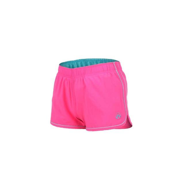 【FIRESTAR】女彈性平織慢跑momo購物手機短褲-路跑 健身 休閒(粉紅湖水藍)