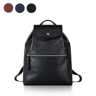 【LONGCHAMP】LE FOULONNE系列皮革束口後背包(黑)