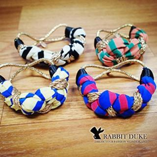 【Rabbit Duke】經典歐美風格 個性撞色布金麻繩混搭設計髮圈